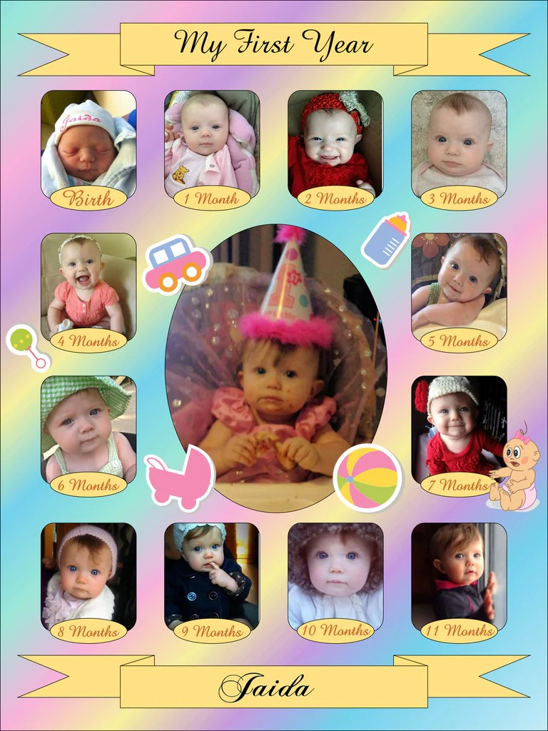 12 Month Photo Collage : month, photo, collage, Month, Photo, Collage, Template, Viewer