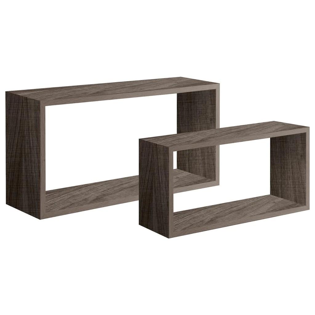 H 16 x l 16 x p 10 cm mensola rettangolare: Set 2 Cubi Mensole In Legno Bislungo Da Parete Design Moderno Con F Decorspace It