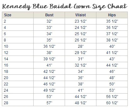 Please note our bridal gown size chart is different than the bridesmaids sizing and listed below also find your  kennedy blue rh kennedyblue