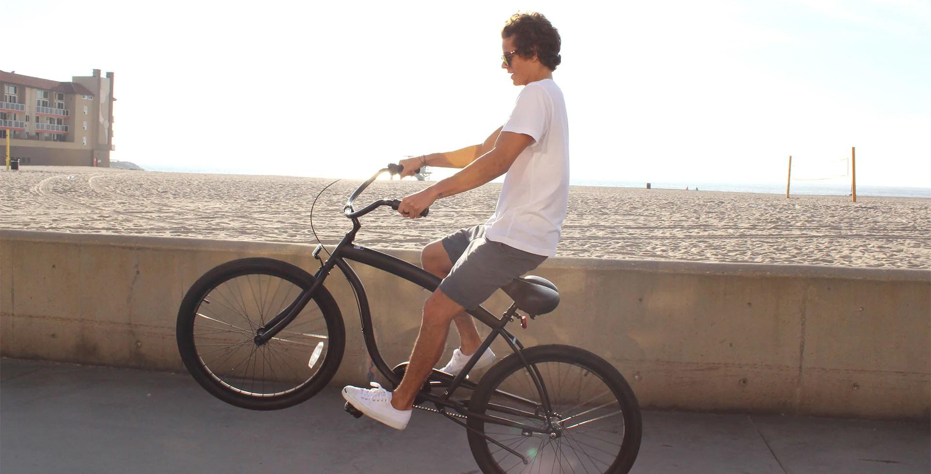 Men' 3 Speed Matte Black Beach Cruiser Bicycle 3sp