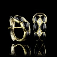 19.2K Yellow Gold Onyx and Diamond Earrings | Long's Jewelers
