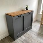 Double Trash Bin Cabinet Tilt Out Doors Wood Trash Recycle Bin Laun Thefurniturefarm
