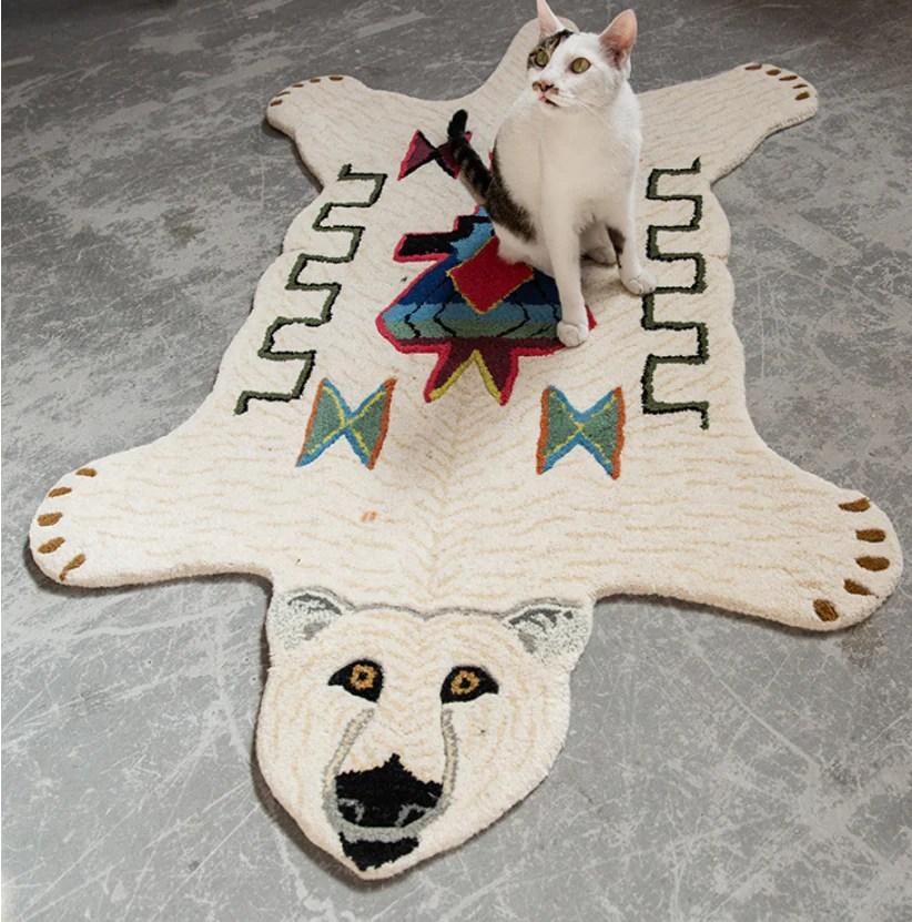 tapis peau d ours indien blanc ours shop fr ours shop fr