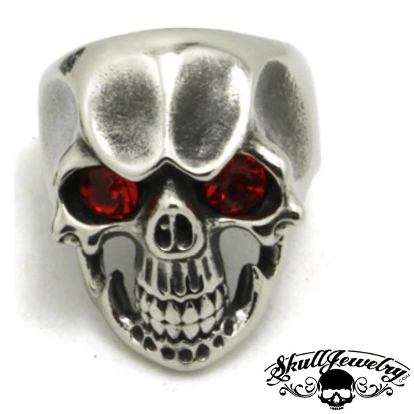 Ruby Tuesday Skull Ring With RED Gem Stone Eyes 246
