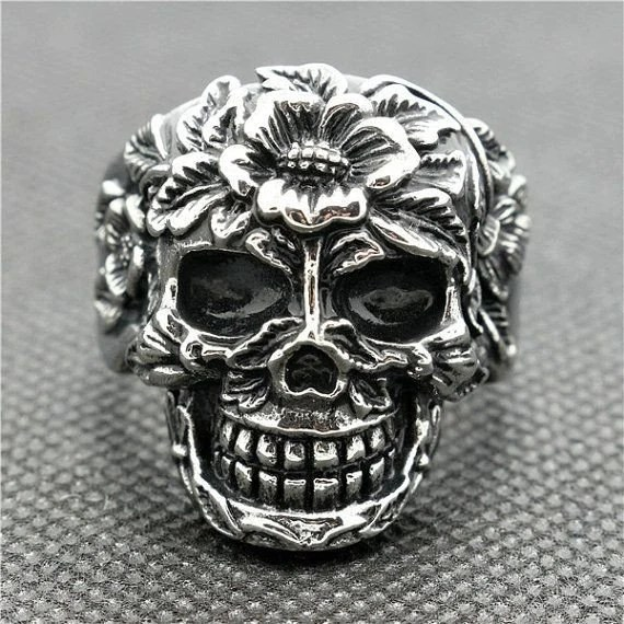 Stainless Steel Casted Sugar Skull Biker Ring With Flower