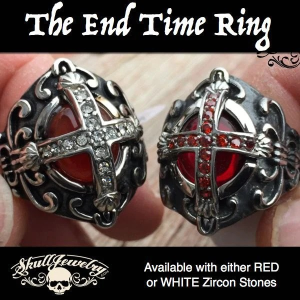 The End Time Cross Ring With Blood Red Inner Stone