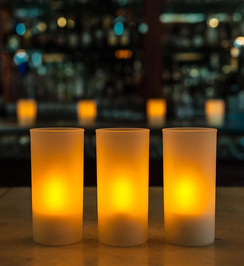 "Tall 4.75"" Frosted Glass Cylinder Candle Holder"