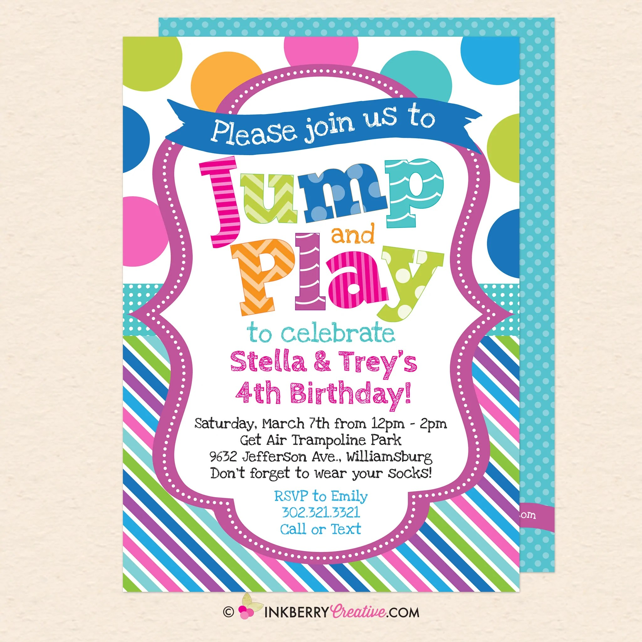 jump and play kids bounce or trampoline birthday party invitation blue printable instant download editable pdf
