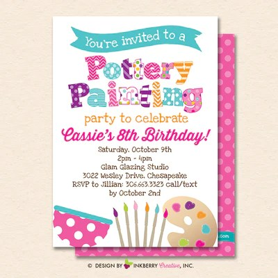 pottery painting party invitation