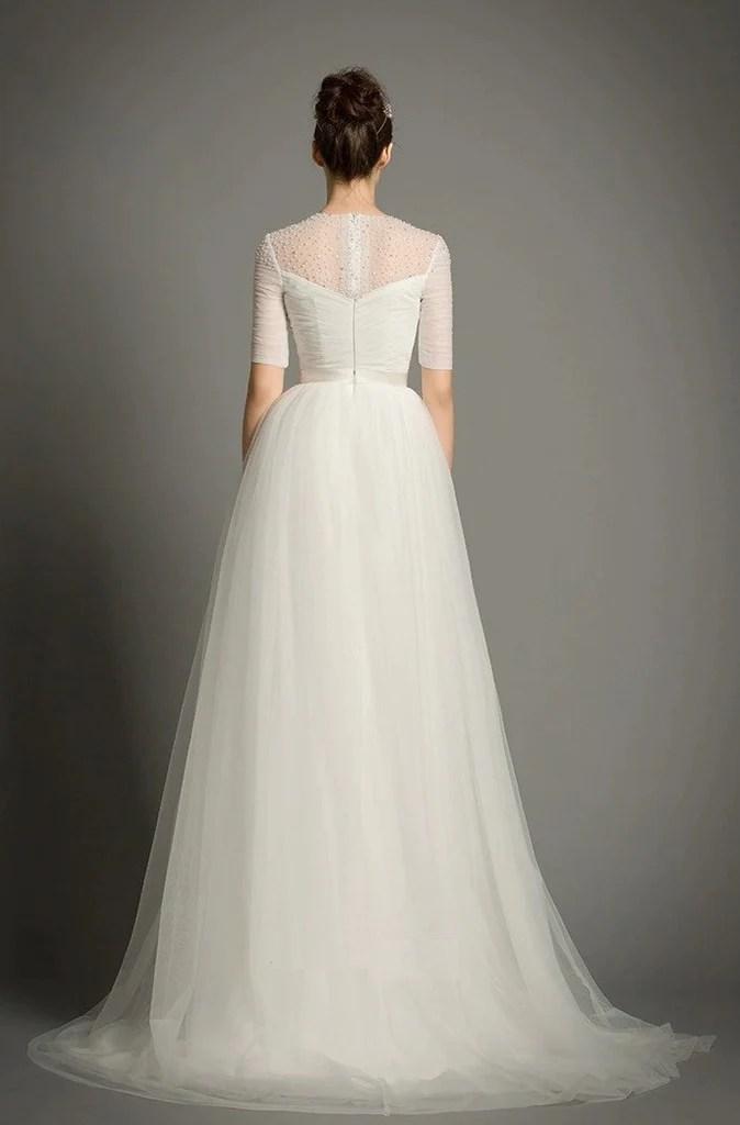 Chantilly Lace with Stretch Silk Charmeuse Slip Wedding Dress  YannyExpress