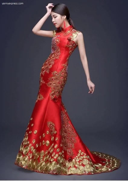 Chinese Wedding Sequin Lace Phoenix Qipao Gown  YannyExpress