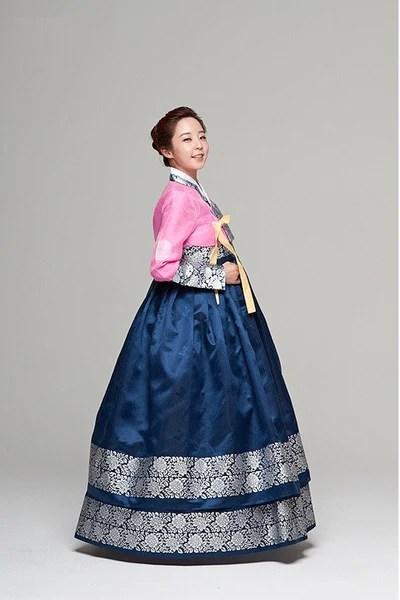 Traditional Pink  Blue Myeongeol Hanbok  YannyExpress