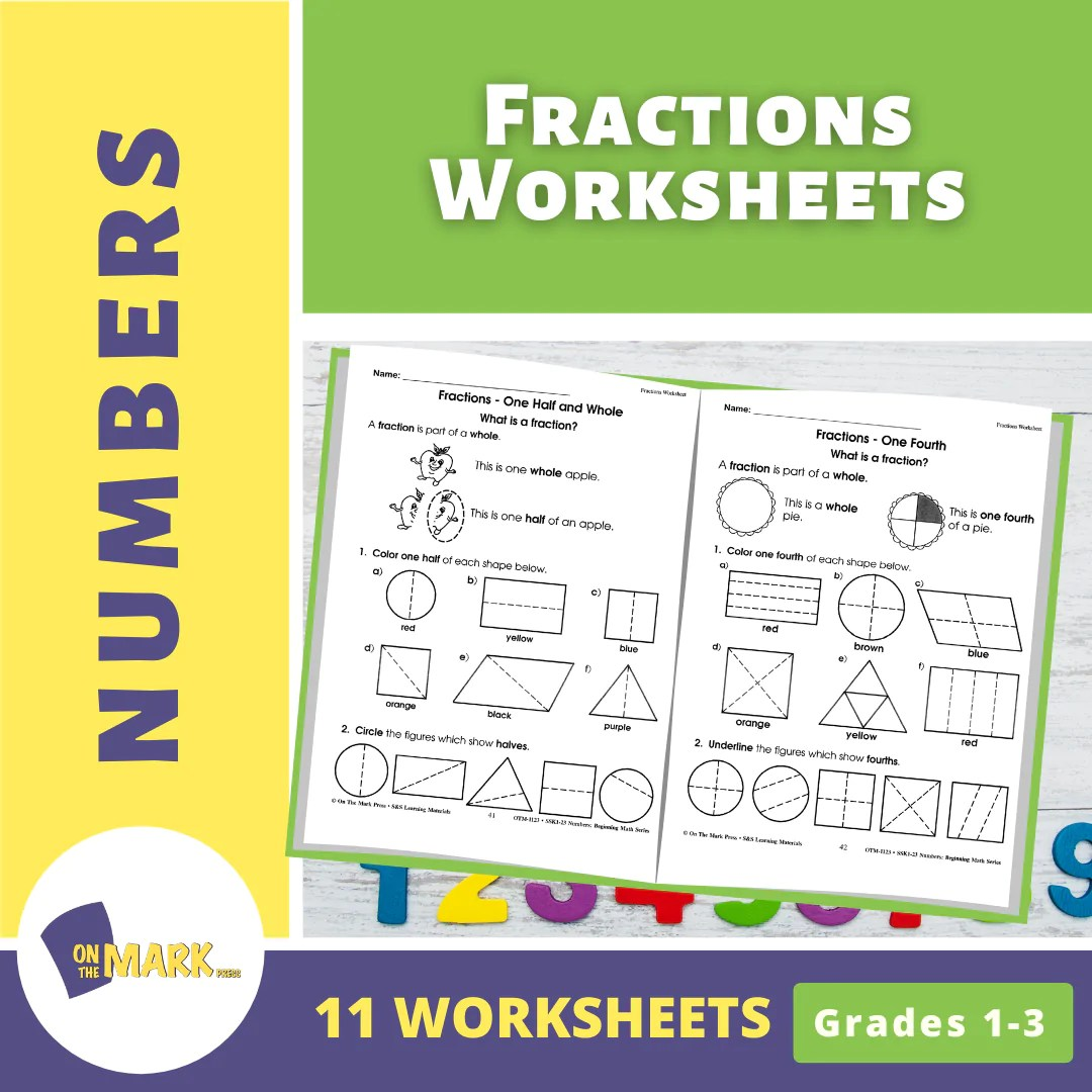 small resolution of Fractions Worksheets Grades 1-3 - On The Mark Press