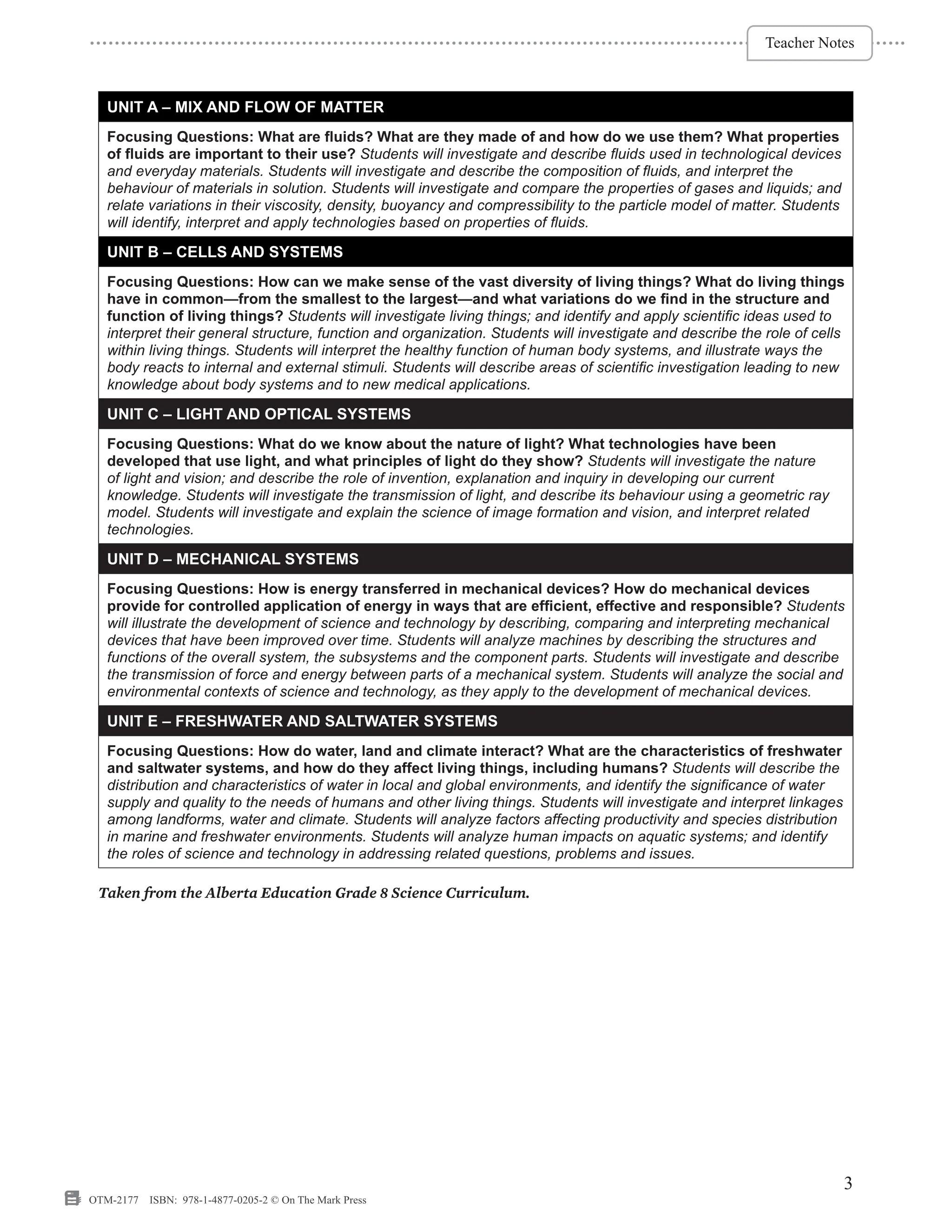 small resolution of Alberta Grade 8 Science Curriculum - On The Mark Press