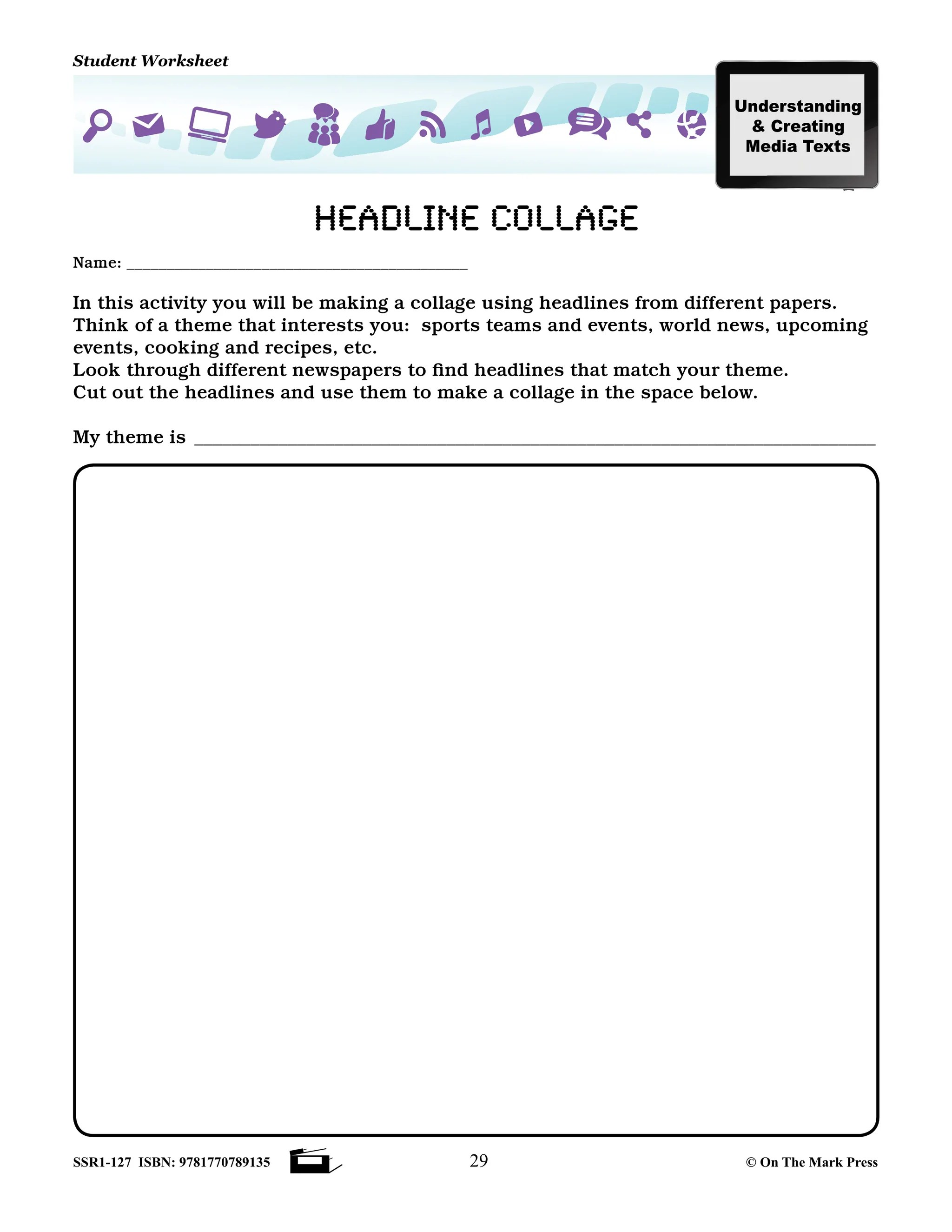 small resolution of Canadian Media Literacy Grades 4-6 - On The Mark Press