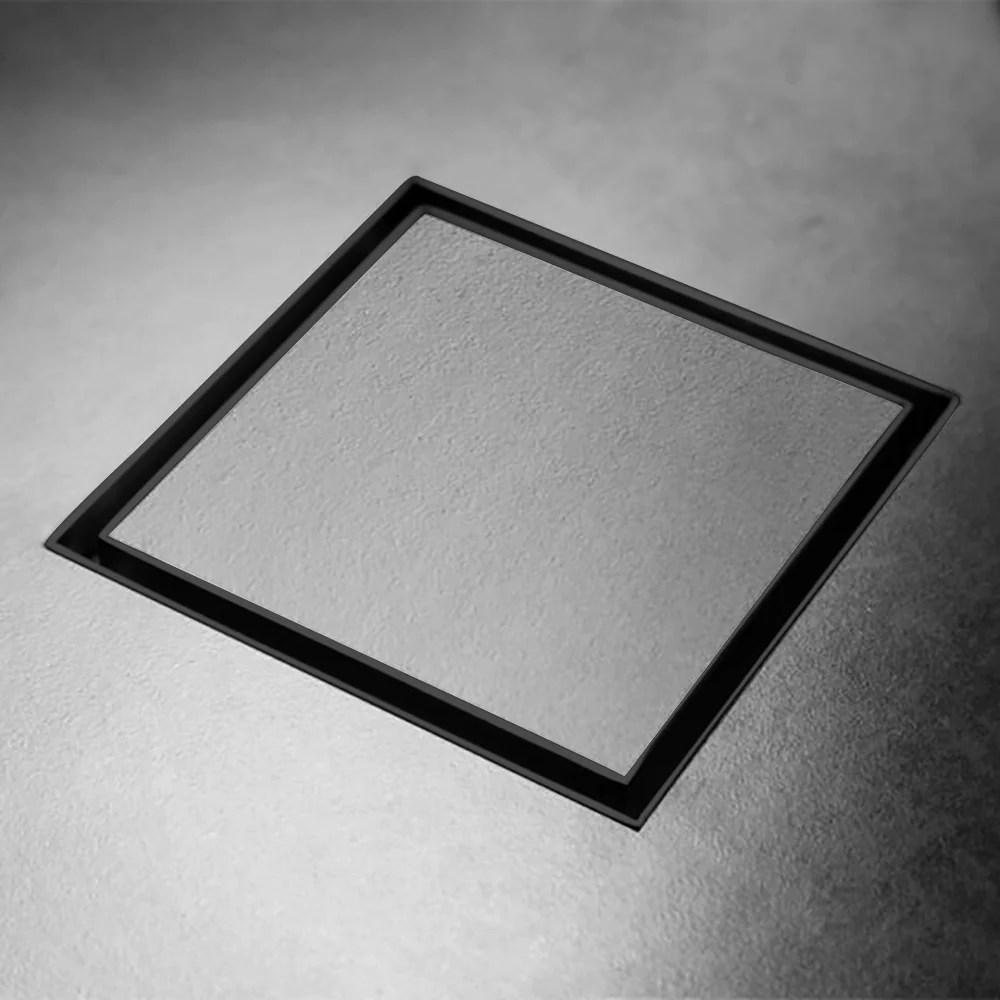 bathroom smart square tile insert floor waste matt black