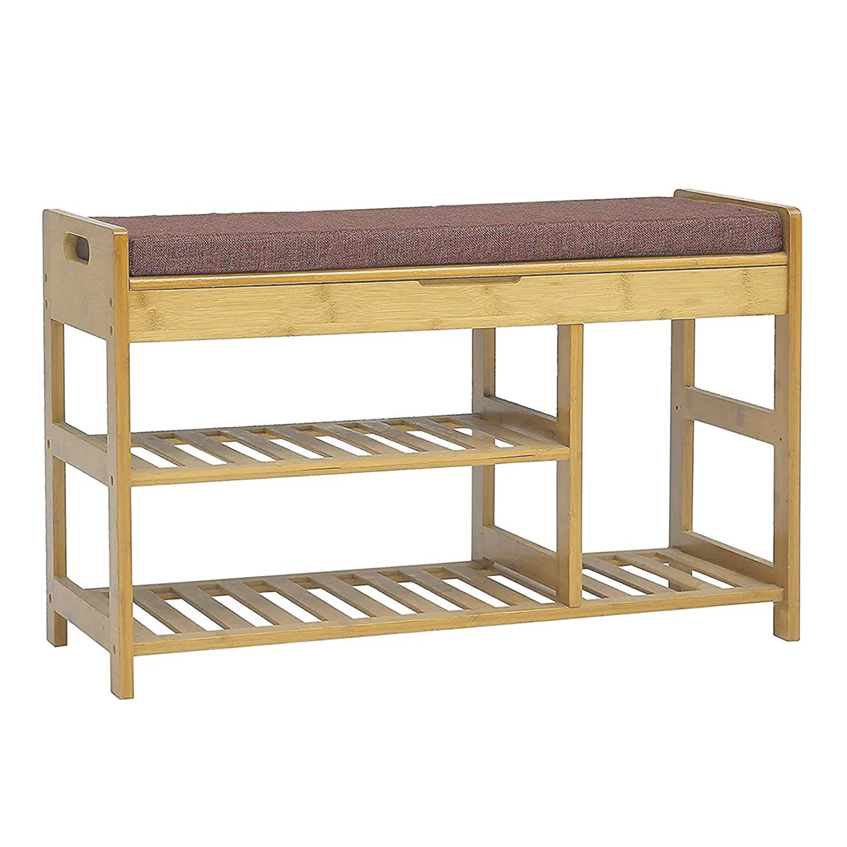 Natural Bamboo Shoe Storage Rack Bench With 2 Tier Storage Drawer On T Crosslinks