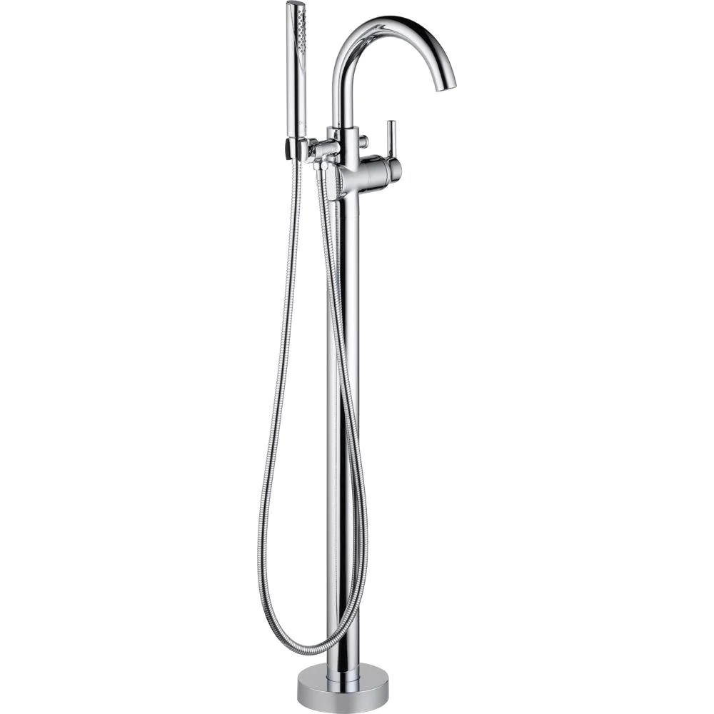 trinsic single handle floor mount roman tub faucet with hand shower in in stock hardwarestore delivery