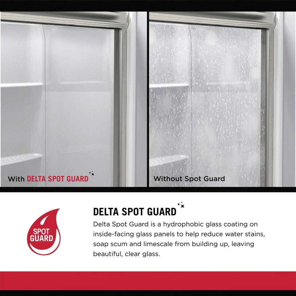 crestfield 60 in x 59 1 4 in mod semi frameless sliding bathtub door in nickel and 1 4 in 6mm clear glass