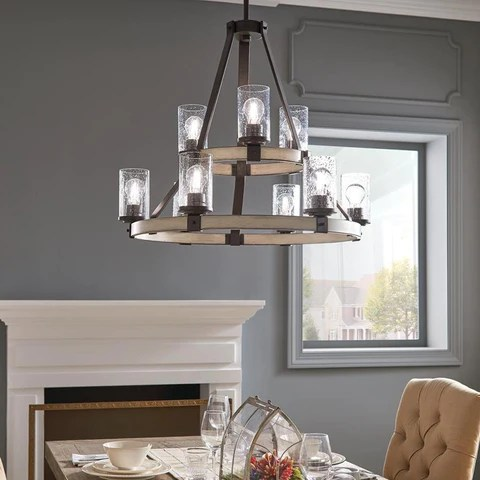 kichler barrington 9 light anvil iron