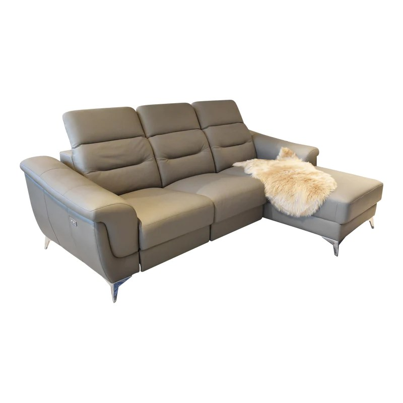 alesia l shape half leather sofa with recliner