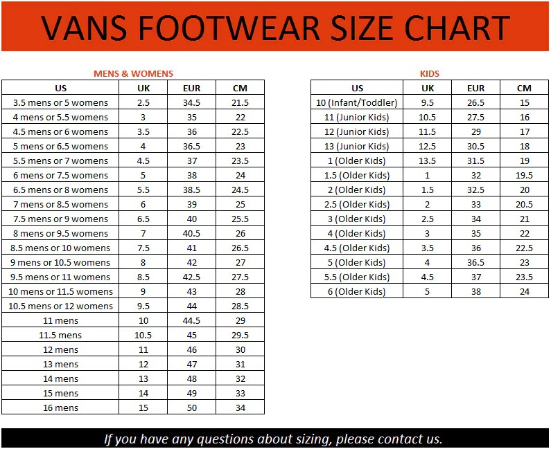 Image result for vans toddler us chart also kids  shoes unisex styles authentic era lo pro rh ebay