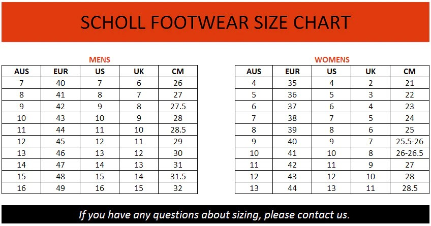 Dr scholls size chart also brand house direct rh brandhousedirect