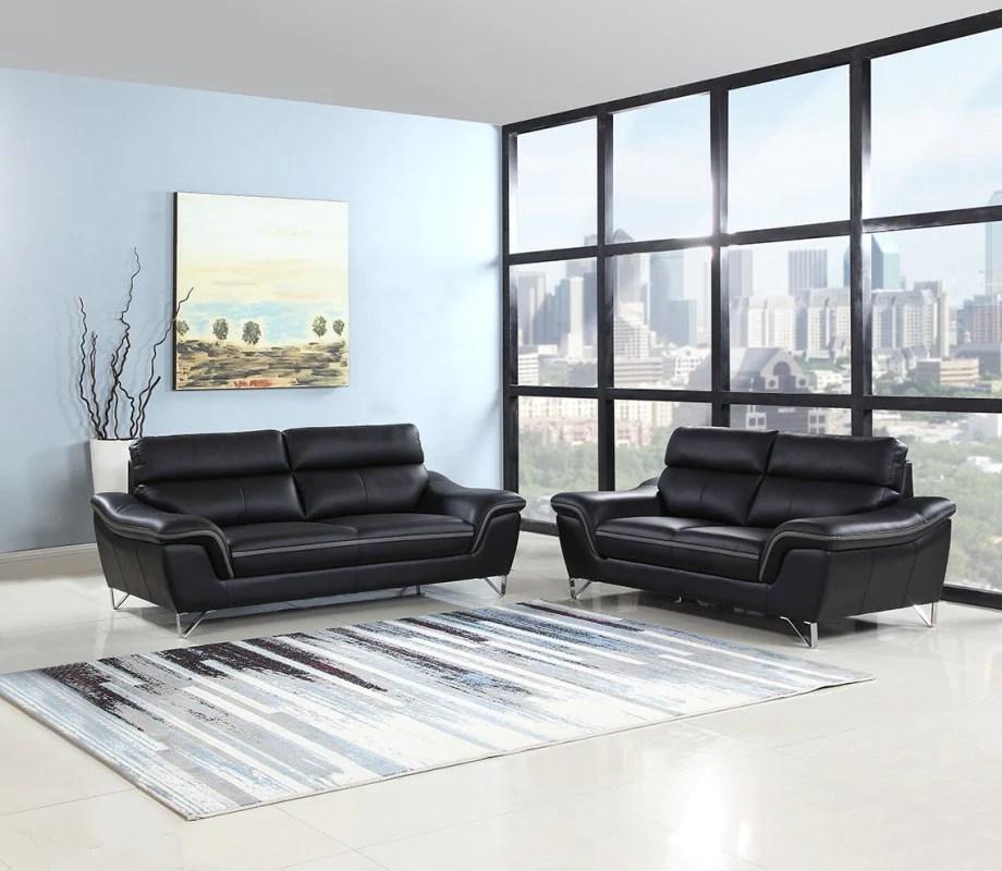 69 x 36 x 40 modern black leather sofa and loveseat english elm