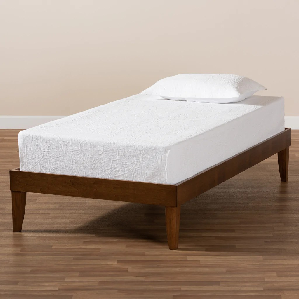 Lucina Mid Century Modern Walnut Brown Finished Twin Size Platform Bed English Elm