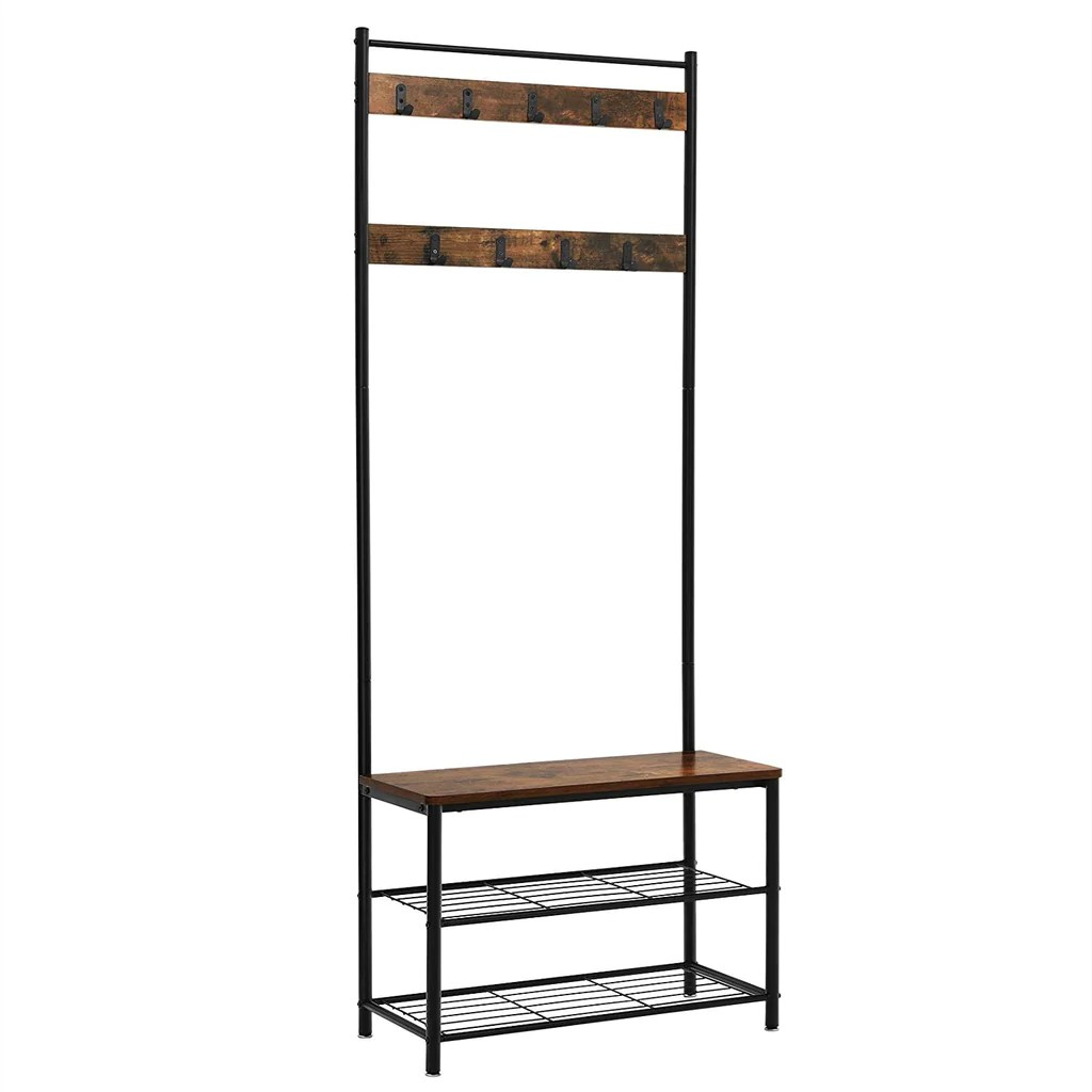 Industrial Wood And Metal Coat Rack With Shoe Bench Black And Brown English Elm