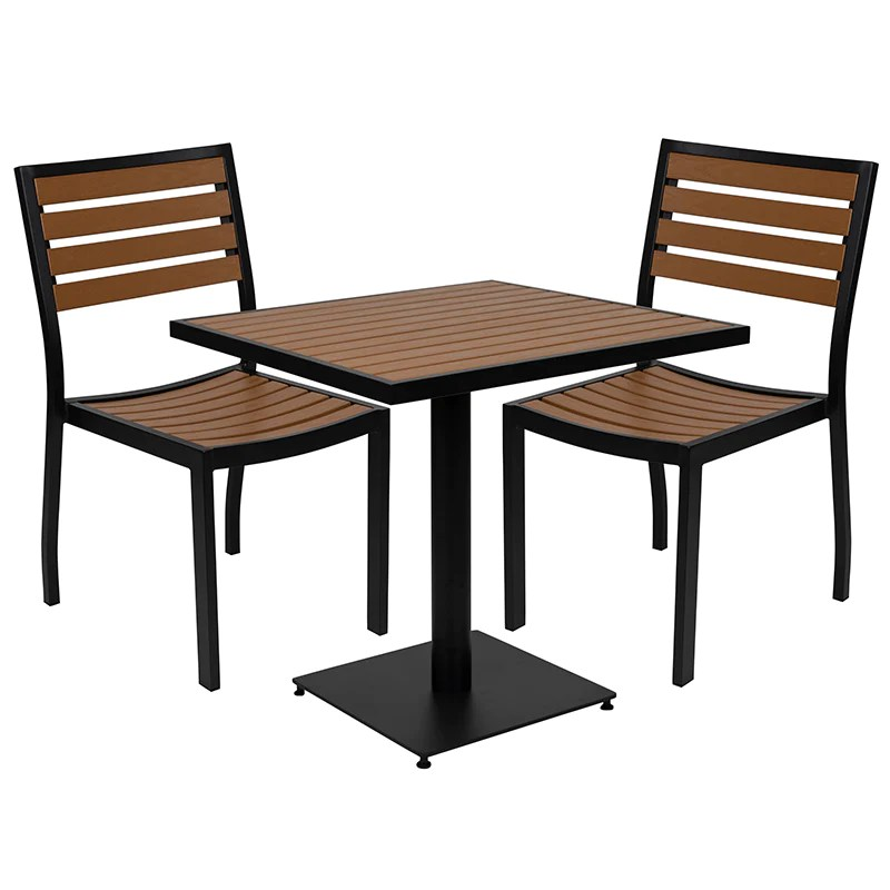 outdoor patio bistro dining table set with 2 chairs and faux poly slat english elm