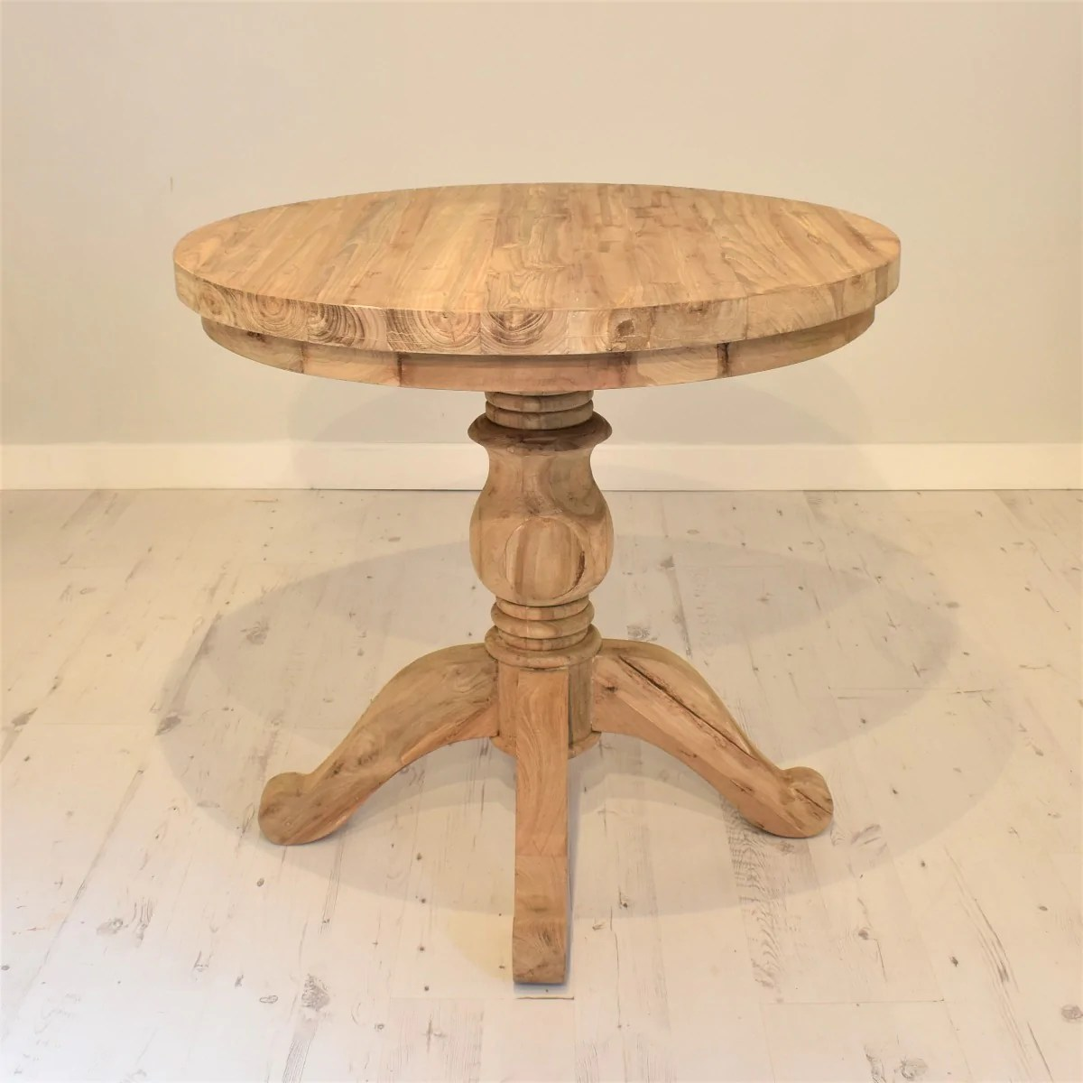 reclaimed teak dining table round 80cm