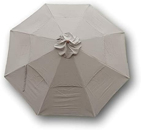 11ft market patio umbrella double vented 8 rib replacement canopy taupe