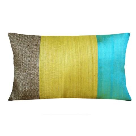 Aqua and Mustard Raw Silk Lumbar Pillow Cover  DesiCrafts