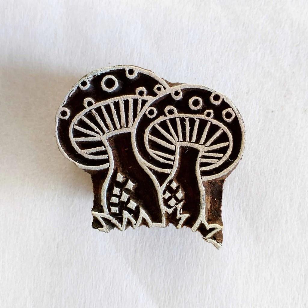 Kawaii Mushrooms Wooden Block Printing Stamp Desicrafts