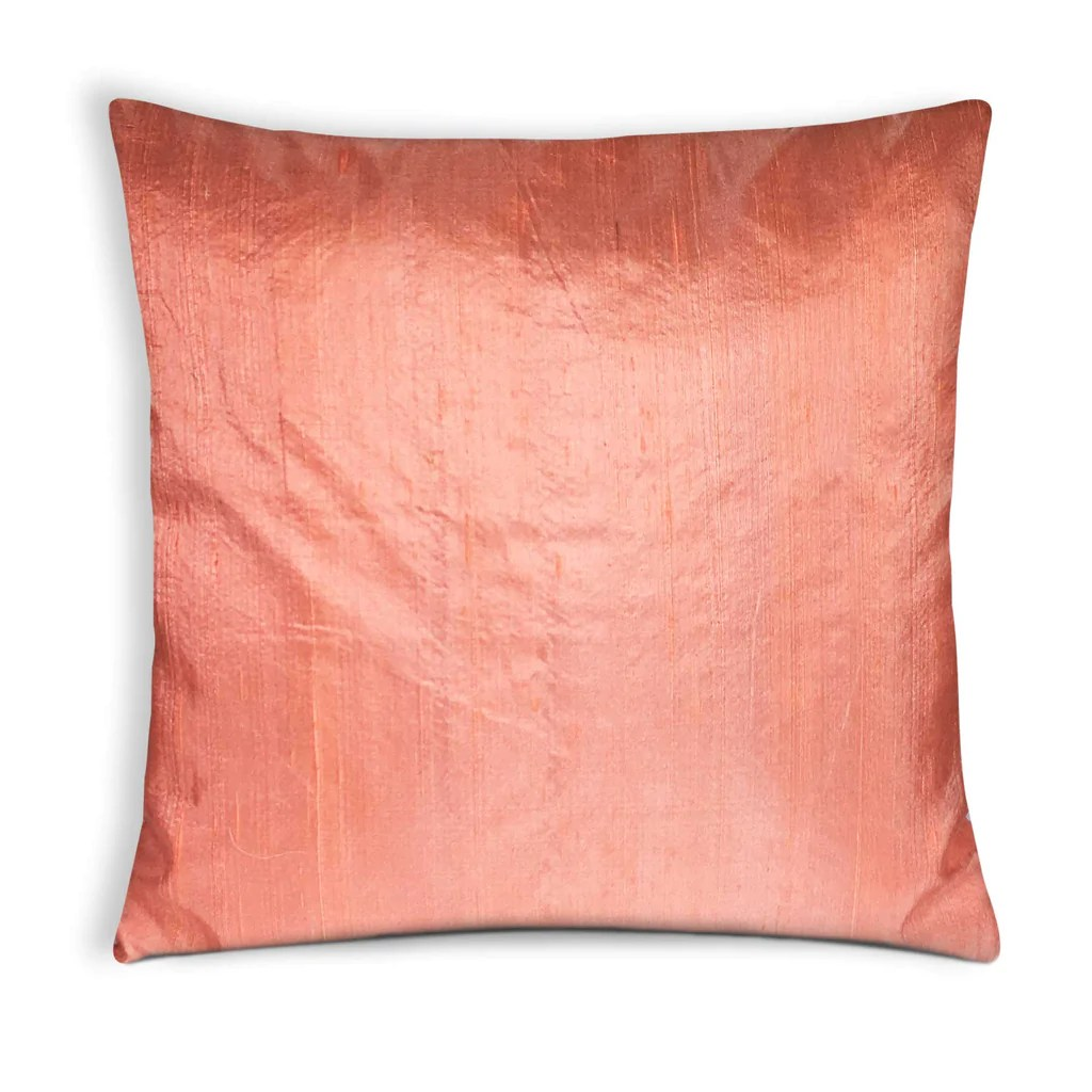 Pure Silk Cushion Covers Buy Online in India  Peach Raw