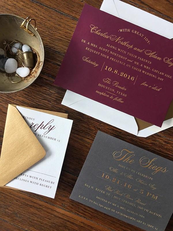 charlcie  adams wine gold  slate wedding invitations