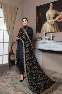 Emaan Adeel Black Velvet Luxury Velvet Shawl