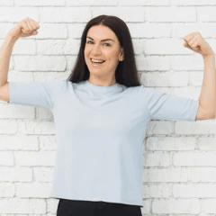 Woman flexing arms