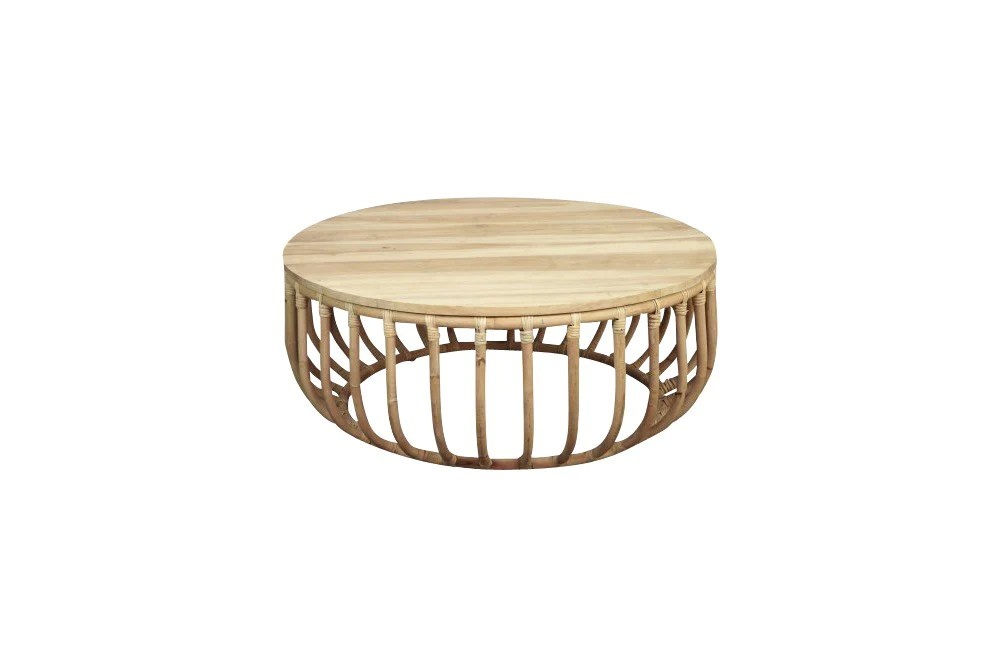 rattan round coffee table