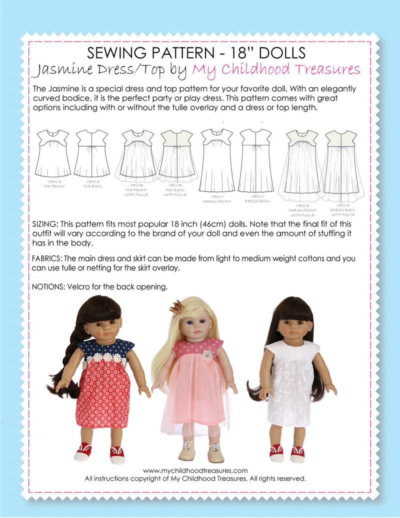 18 Inch Doll Dress Patterns : dress, patterns, Dress, Sewing, Pattern, TREASURIE