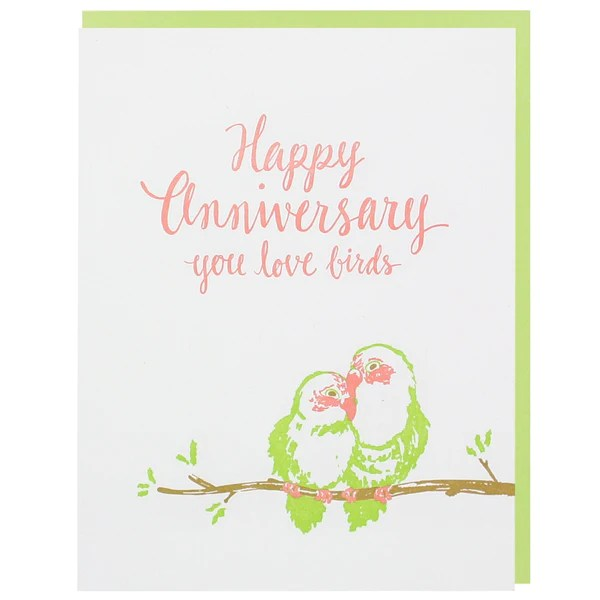 Love Birds Anniversary Card Happy Anniversary Cards Smudge Ink