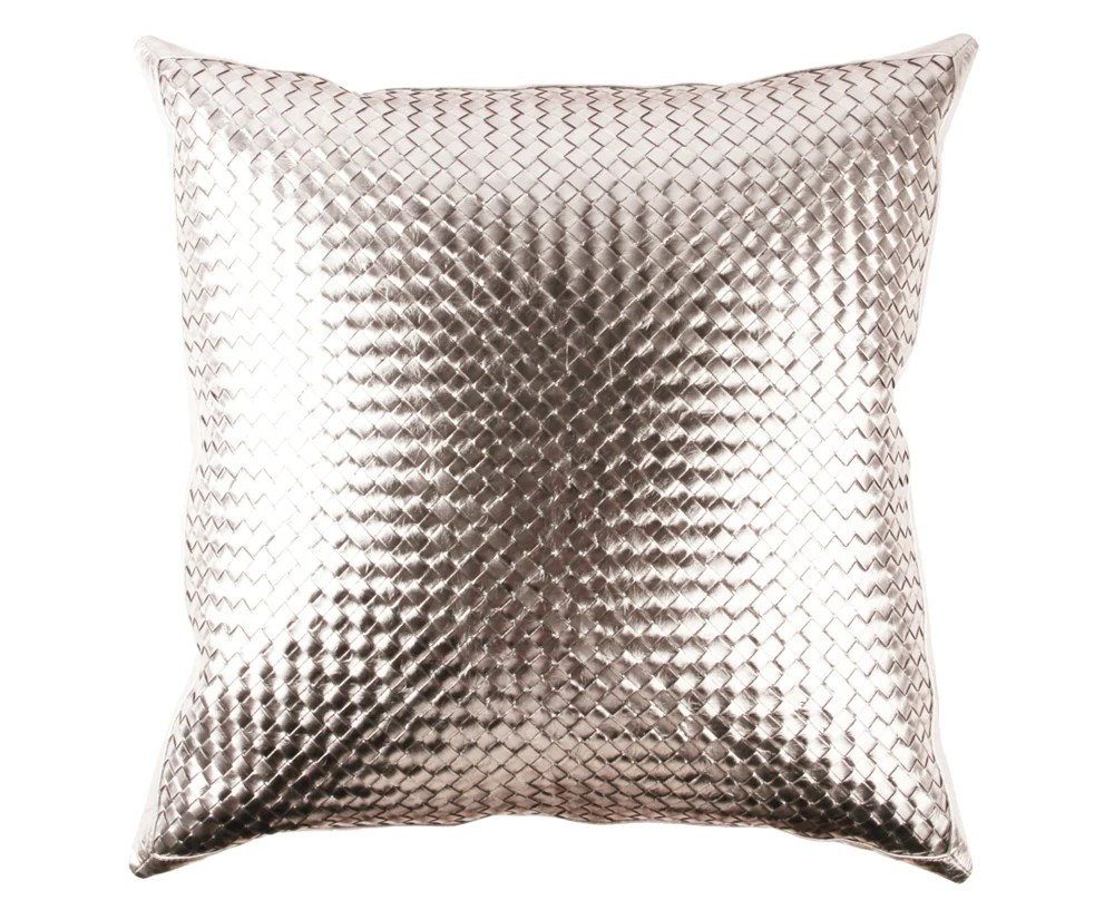 bling warm silver leather pillow