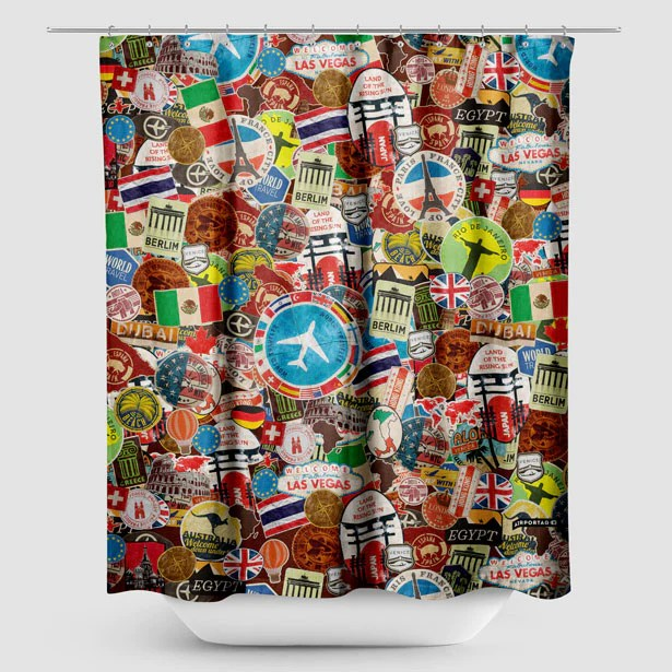 travel stickers shower curtain