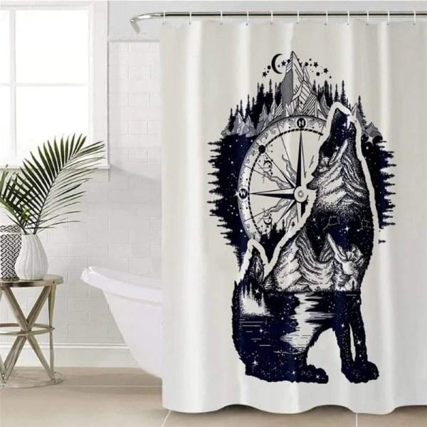 wolf shower curtain fabric wolf stuff