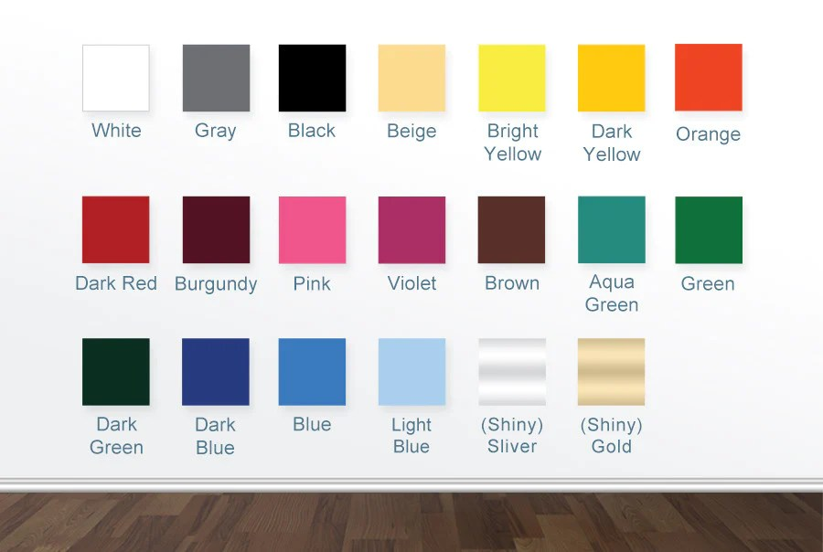 FREE 20 Colour Vinyl Sample Swatch Chart CUT IT OUT Wall