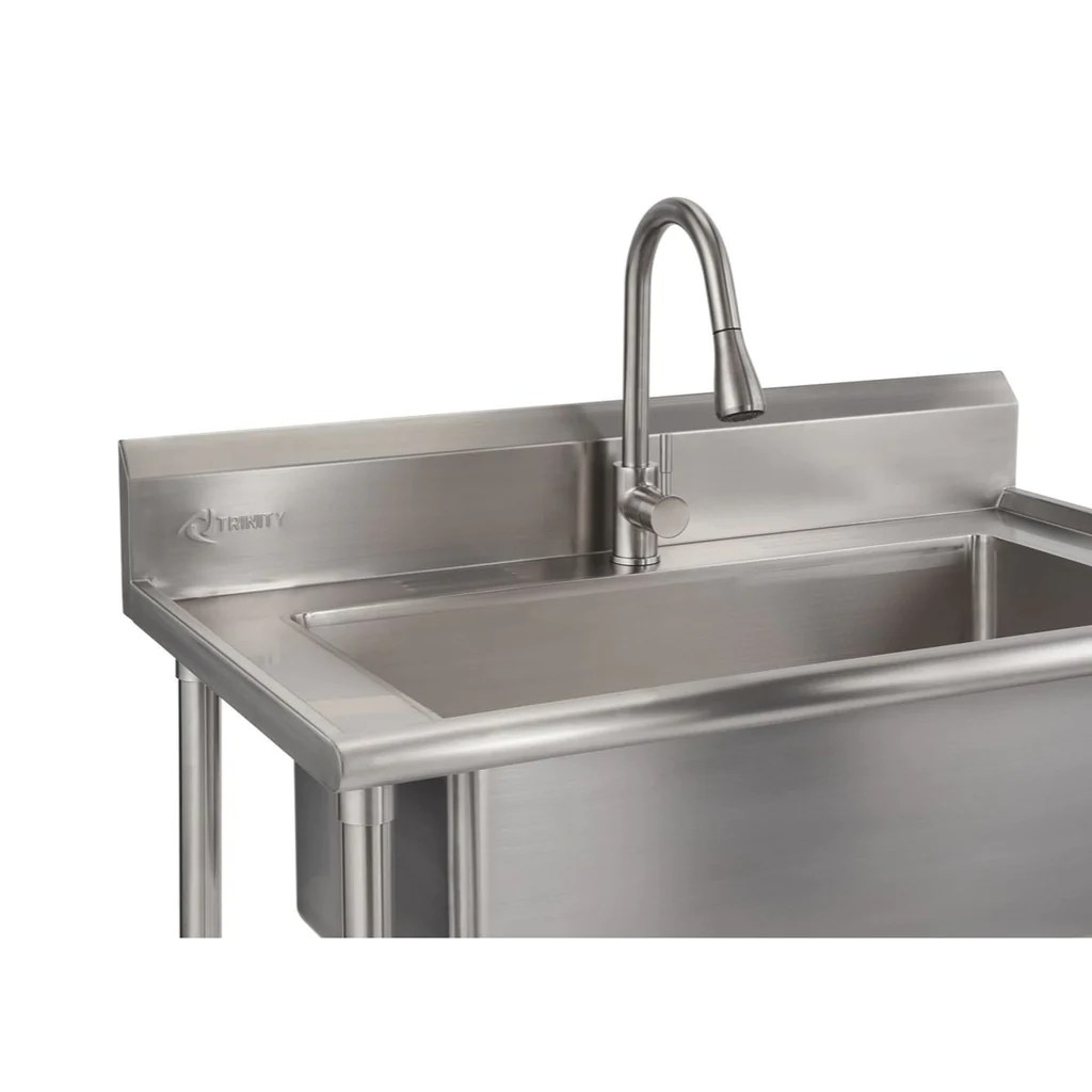 trinity 32 x 16 stainless steel utility sink nsf w pull out faucet