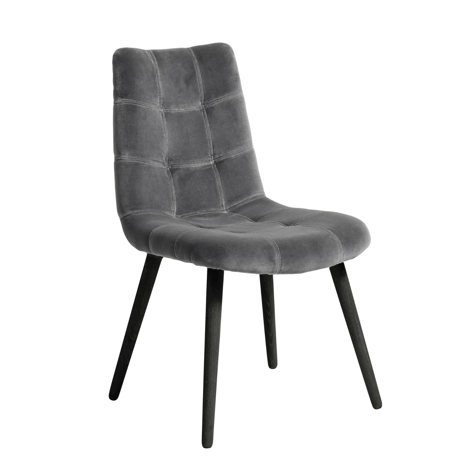 Beautiful Chairs Grey Velvet Dining Chair With Black Legs