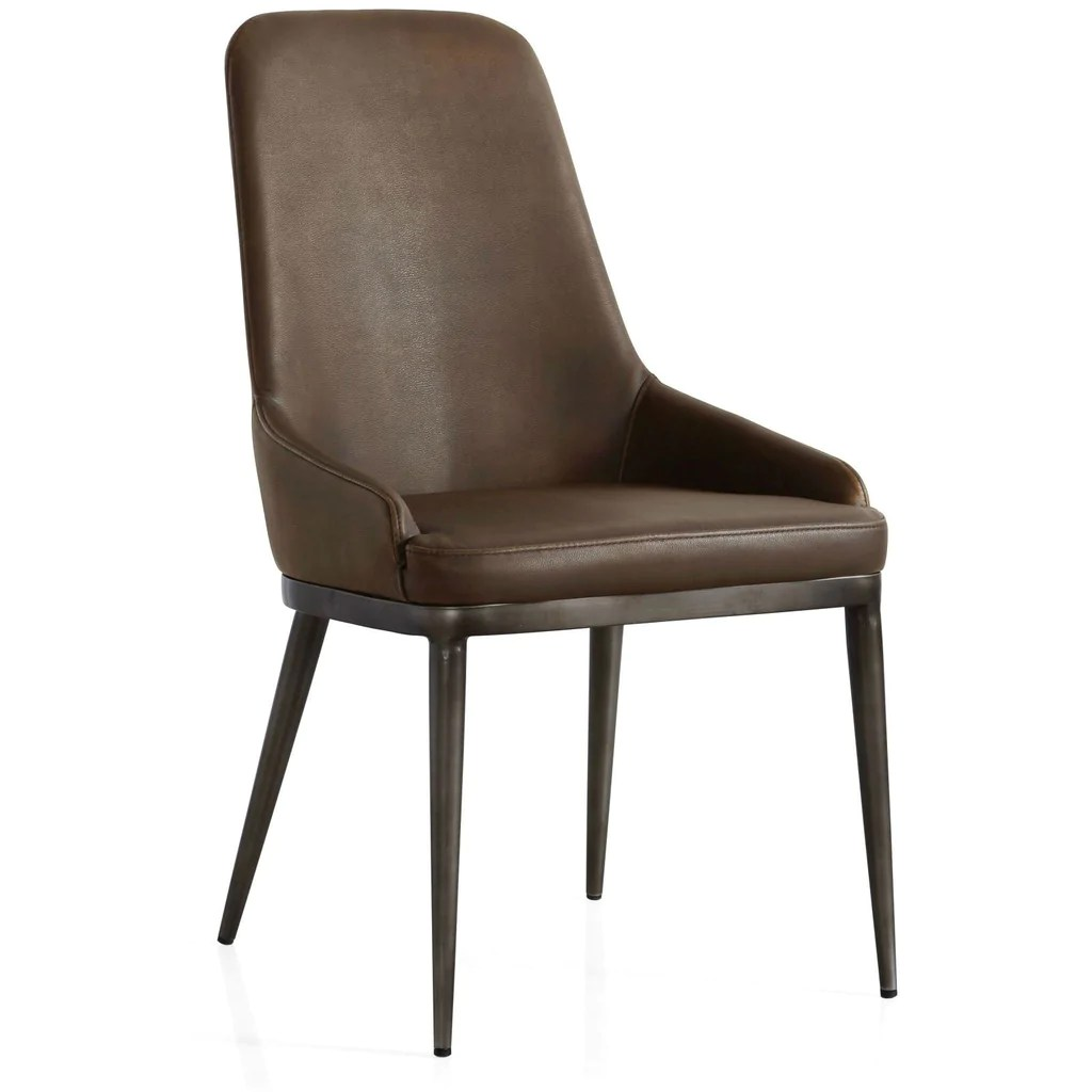 industrial dining chair how to paint metal chairs retro contour with faux leather