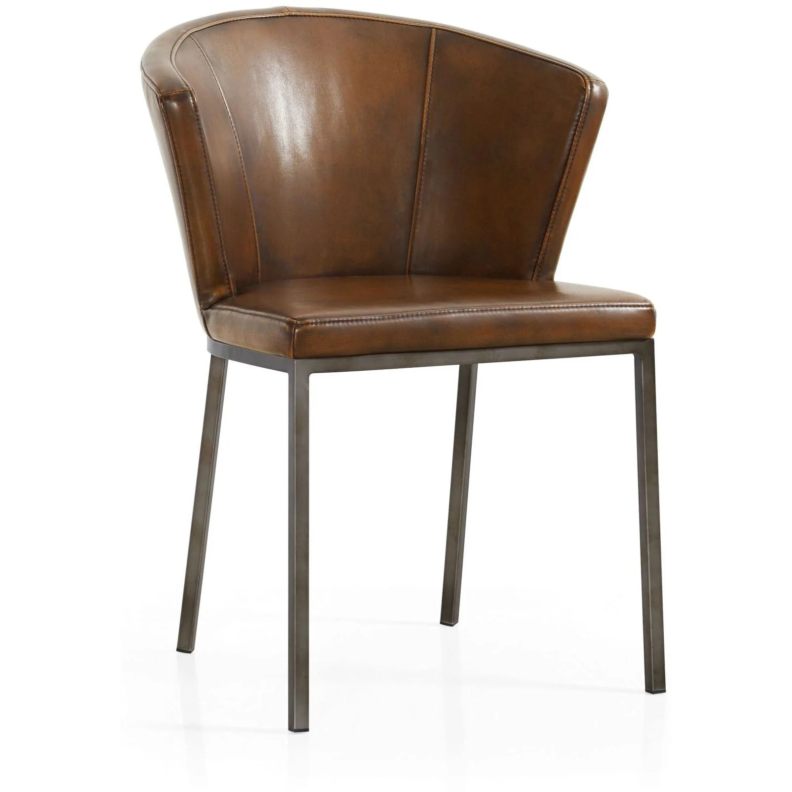 Curved Back Chair Retro Curved Back Faux Leather Dining Chair